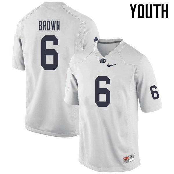 Youth #6 Cam Brown Penn State Nittany Lions College Football Jerseys Sale-White