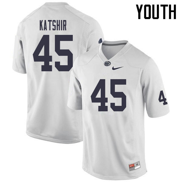 Youth #45 Charlie Katshir Penn State Nittany Lions College Football Jerseys Sale-White