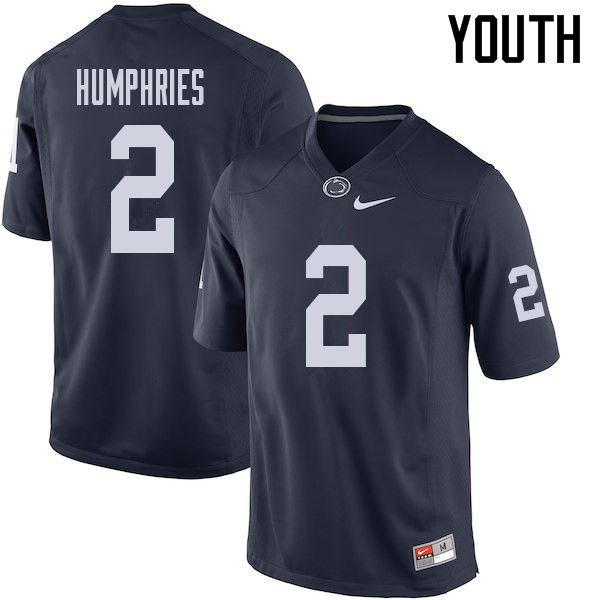 Youth #2 Isaiah Humphries Penn State Nittany Lions College Football Jerseys Sale-Navy