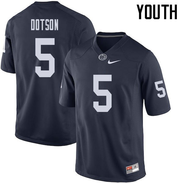 Youth #5 Jahan Dotson Penn State Nittany Lions College Football Jerseys Sale-Navy