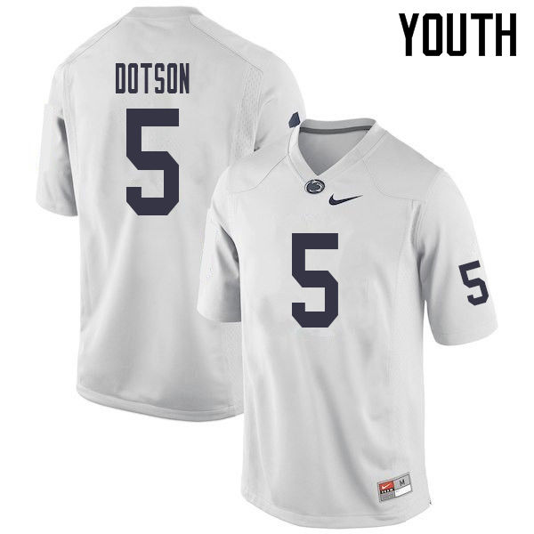 Youth #5 Jahan Dotson Penn State Nittany Lions College Football Jerseys Sale-White