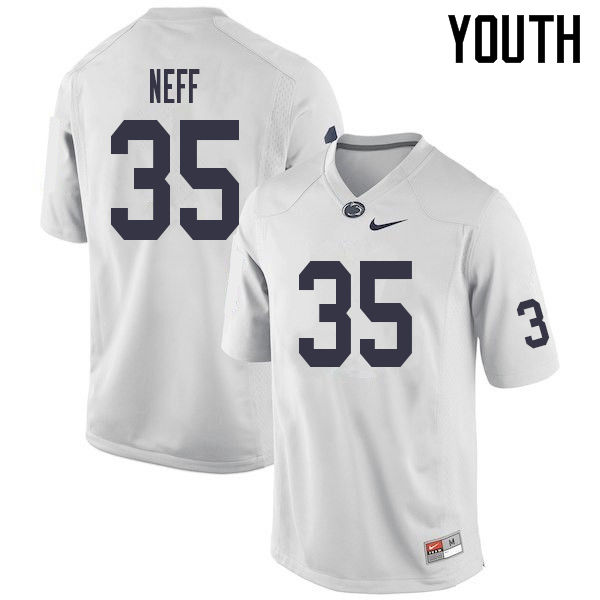 Youth #35 Justin Neff Penn State Nittany Lions College Football Jerseys Sale-White