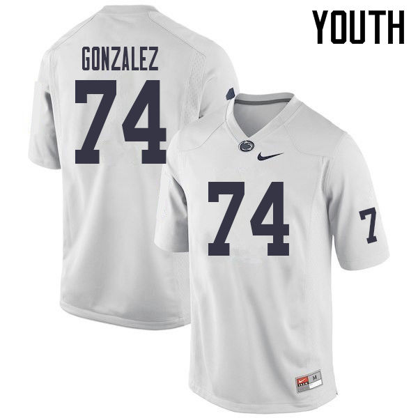 Youth #74 Steven Gonzalez Penn State Nittany Lions College Football Jerseys Sale-White