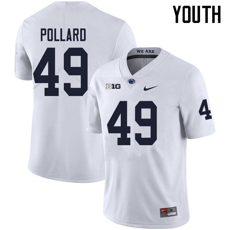 Youth #49 Cade Pollard Penn State Nittany Lions College Football Jerseys Sale-White