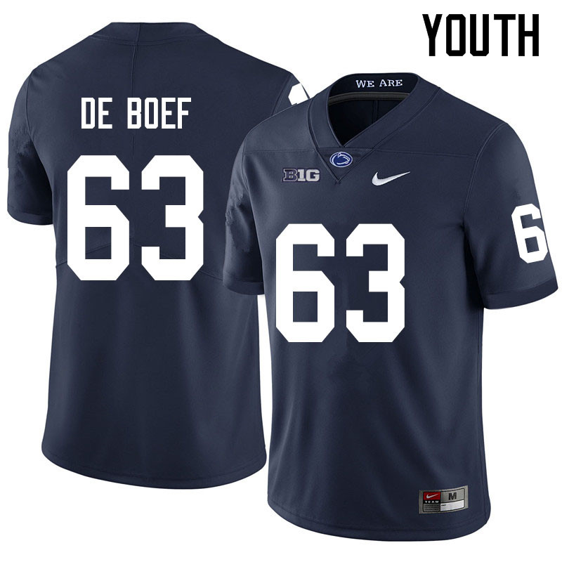 Youth #63 Collin De Boef Penn State Nittany Lions College Football Jerseys Sale-Navy