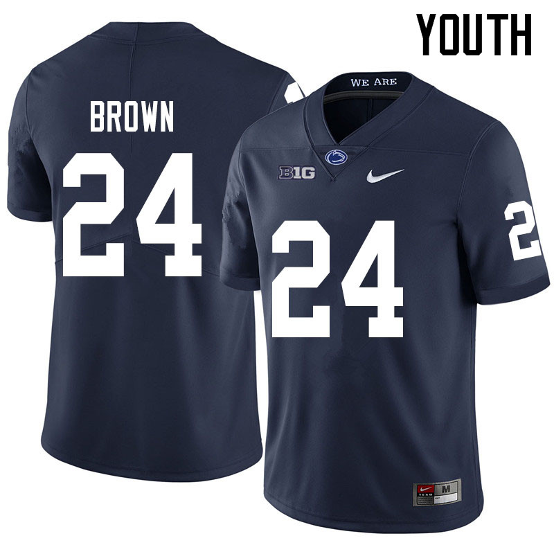 Youth #24 DJ Brown Penn State Nittany Lions College Football Jerseys Sale-Navy