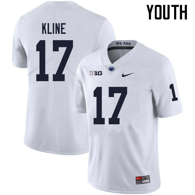 Youth #17 Grayson Kline Penn State Nittany Lions College Football Jerseys Sale-White