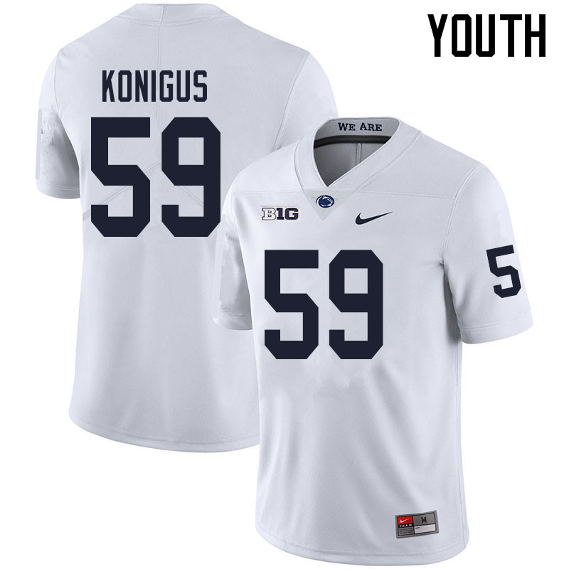 Youth #59 Kaleb Konigus Penn State Nittany Lions College Football Jerseys Sale-White