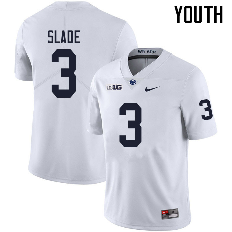 Youth #3 Ricky Slade Penn State Nittany Lions College Football Jerseys Sale-White