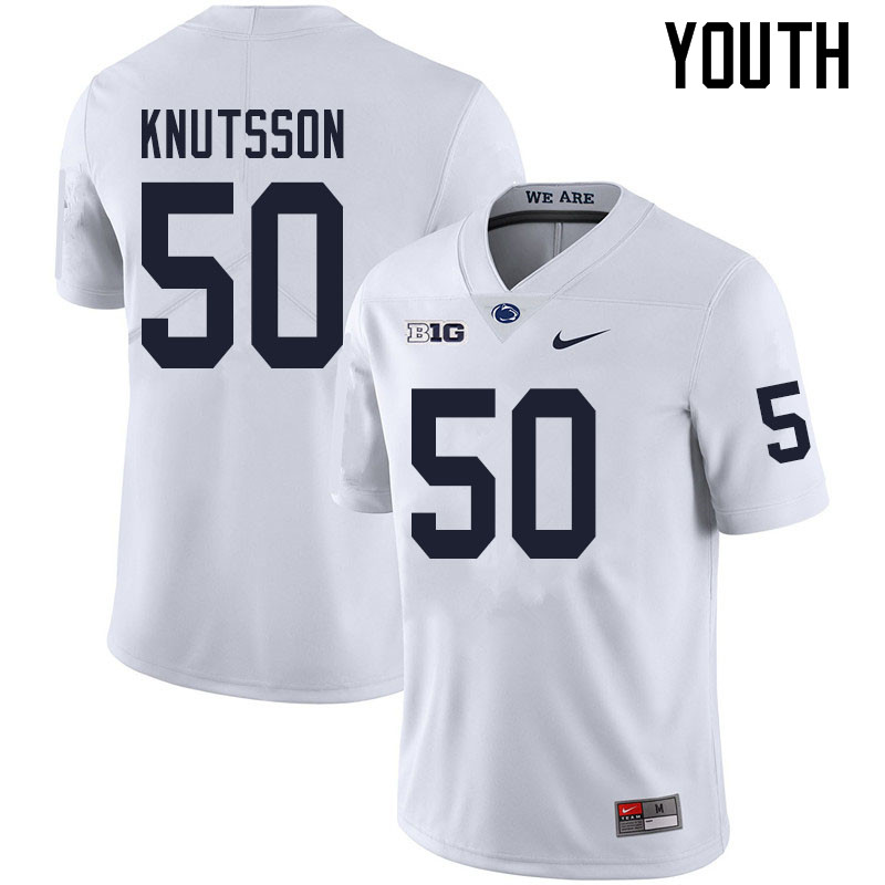 Youth #50 WIll Knutsson Penn State Nittany Lions College Football Jerseys Sale-White