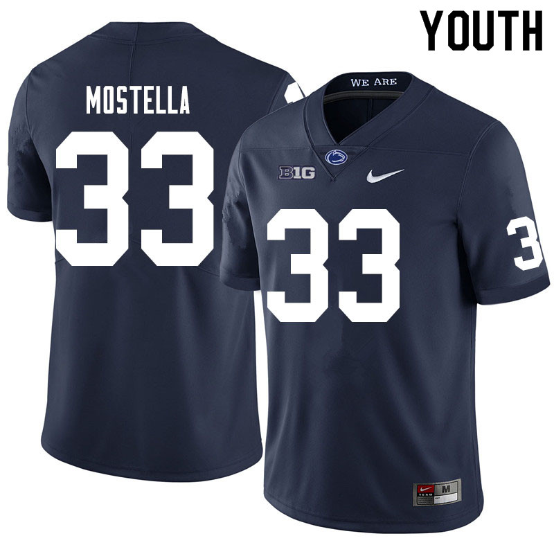 Youth #33 Bryce Mostella Penn State Nittany Lions College Football Jerseys Sale-Navy