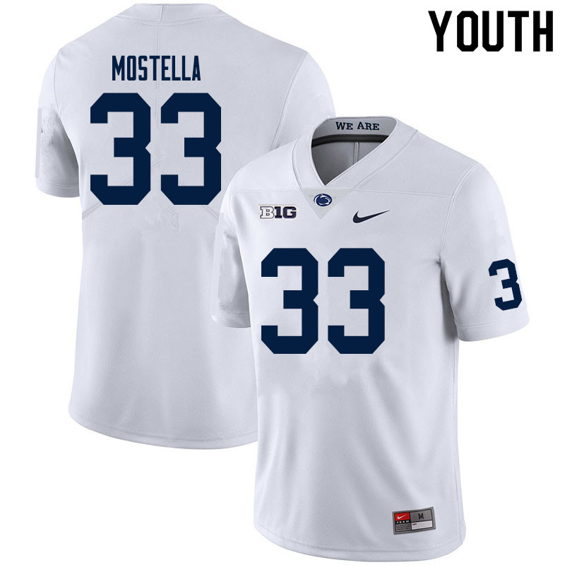 Youth #33 Bryce Mostella Penn State Nittany Lions College Football Jerseys Sale-White