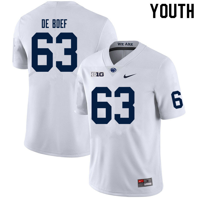 Youth #63 Collin De Boef Penn State Nittany Lions College Football Jerseys Sale-White