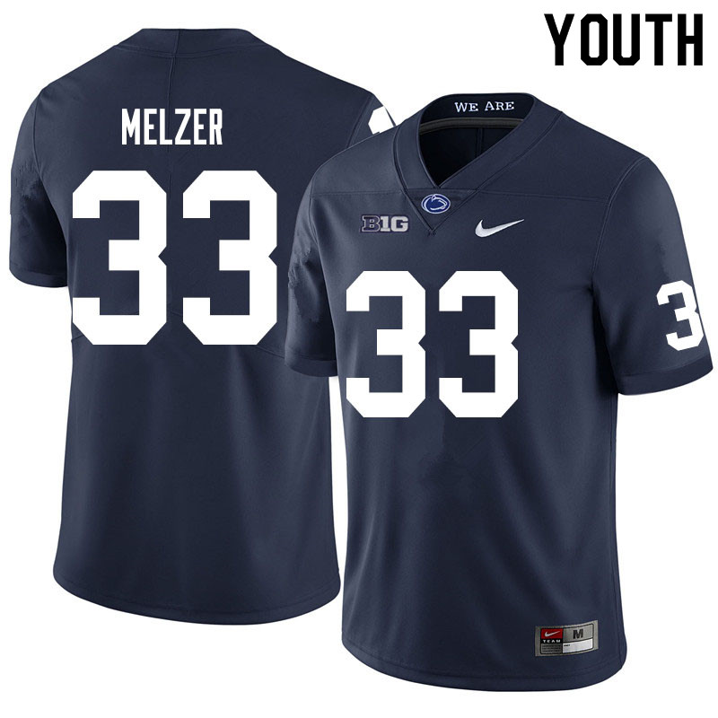 Youth #33 Corey Melzer Penn State Nittany Lions College Football Jerseys Sale-Navy