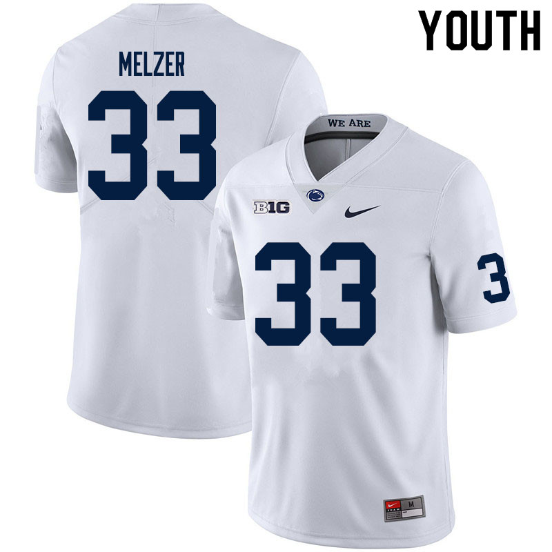 Youth #33 Corey Melzer Penn State Nittany Lions College Football Jerseys Sale-White