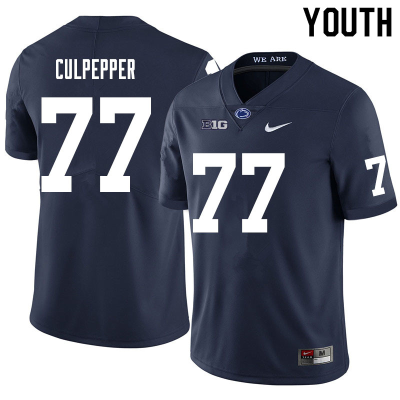 Youth #77 Judge Culpepper Penn State Nittany Lions College Football Jerseys Sale-Navy