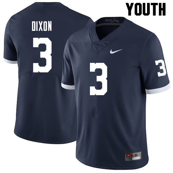 Youth #3 Johnny Dixon Penn State Nittany Lions College Football Jerseys Sale-Retro