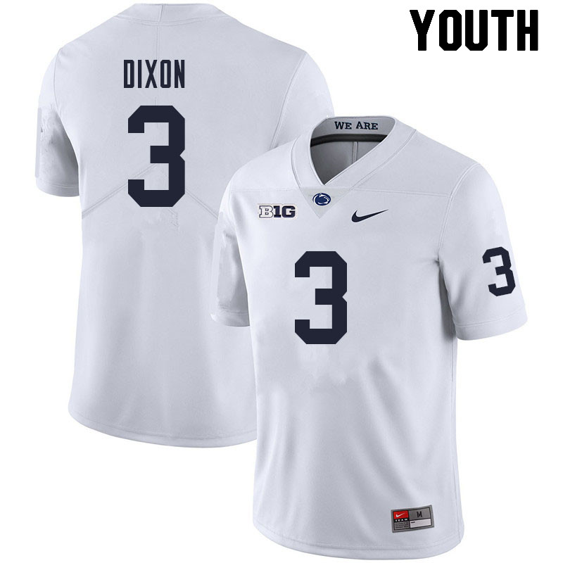 Youth #3 Johnny Dixon Penn State Nittany Lions College Football Jerseys Sale-White