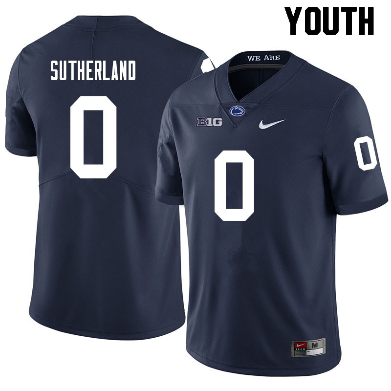 Youth #0 Jonathan Sutherland Penn State Nittany Lions College Football Jerseys Sale-Navy