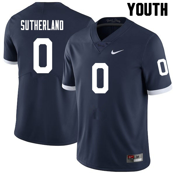 Youth #0 Jonathan Sutherland Penn State Nittany Lions College Football Jerseys Sale-Retro