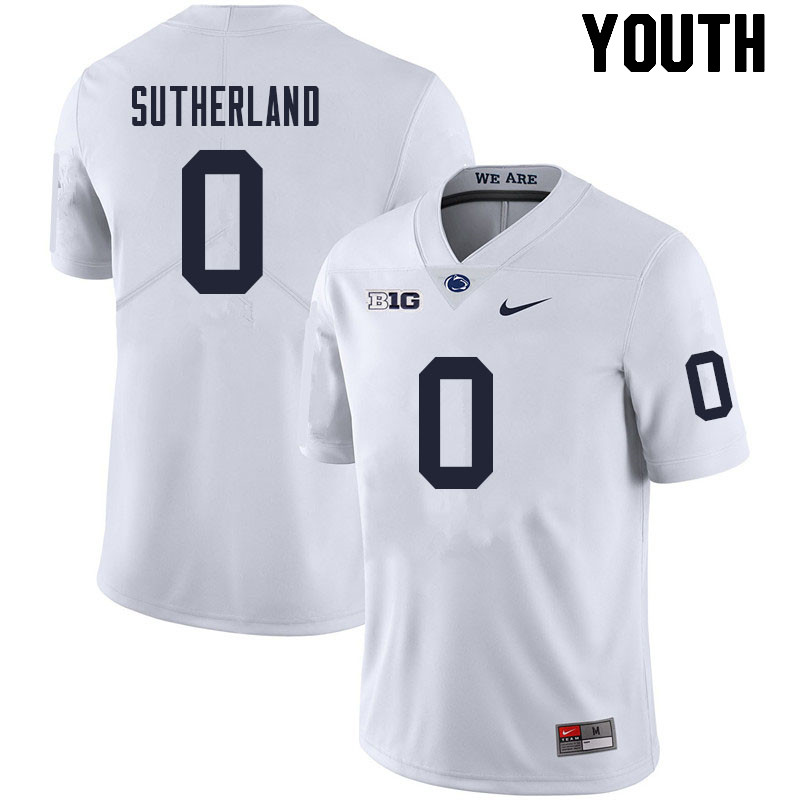 Youth #0 Jonathan Sutherland Penn State Nittany Lions College Football Jerseys Sale-White