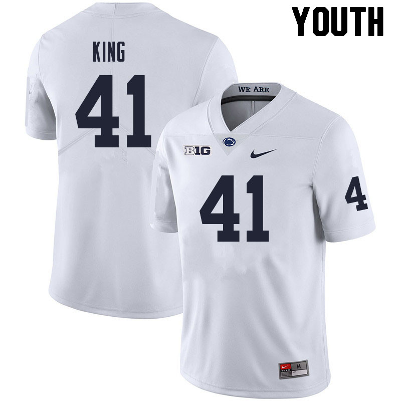 Youth #41 Kobe King Penn State Nittany Lions College Football Jerseys Sale-White