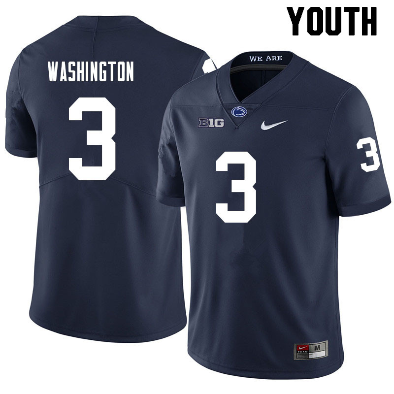 Youth #3 Parker Washington Penn State Nittany Lions College Football Jerseys Sale-Navy