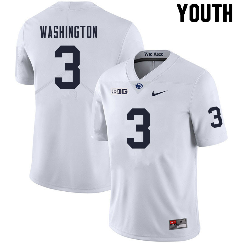 Youth #3 Parker Washington Penn State Nittany Lions College Football Jerseys Sale-White