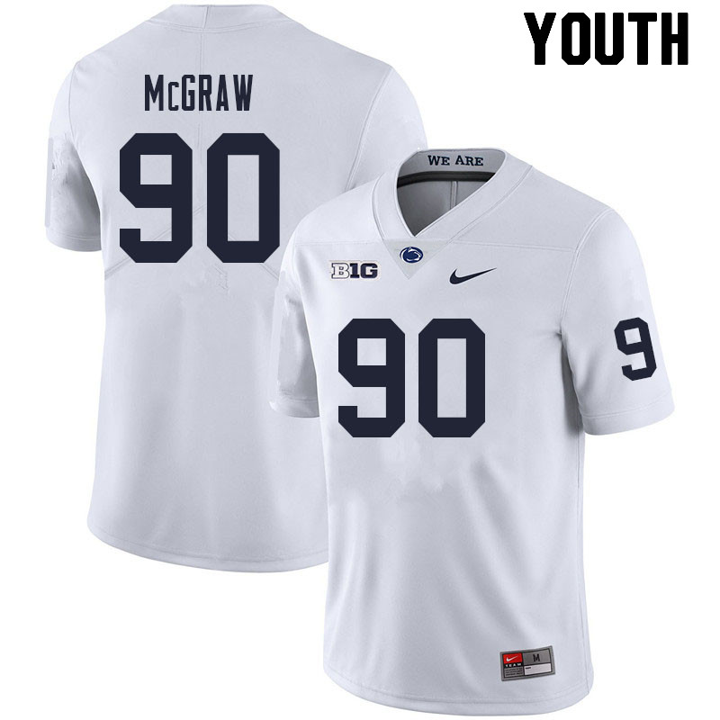 Youth #90 Rodney McGraw Penn State Nittany Lions College Football Jerseys Sale-White