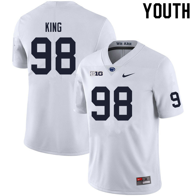Youth #98 Bradley King Penn State Nittany Lions College Football Jerseys Sale-White