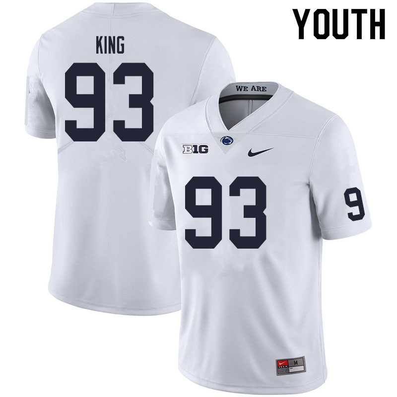 Youth #93 Bradley King Penn State Nittany Lions College Football Jerseys Sale-White