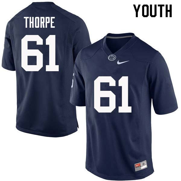 Youth #61 C.J. Thorpe Penn State Nittany Lions College Football Jerseys Sale-Navy