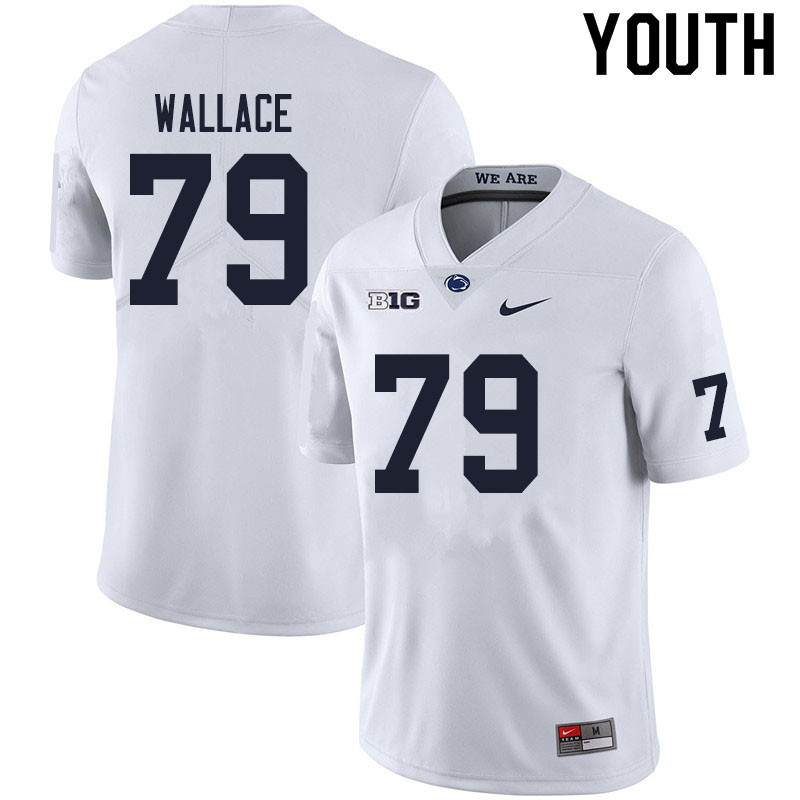 Youth #79 Caedan Wallace Penn State Nittany Lions College Football Jerseys Sale-White