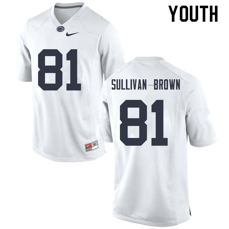 Youth #81 Cameron Sullivan-Brown Penn State Nittany Lions College Football Jerseys Sale-White