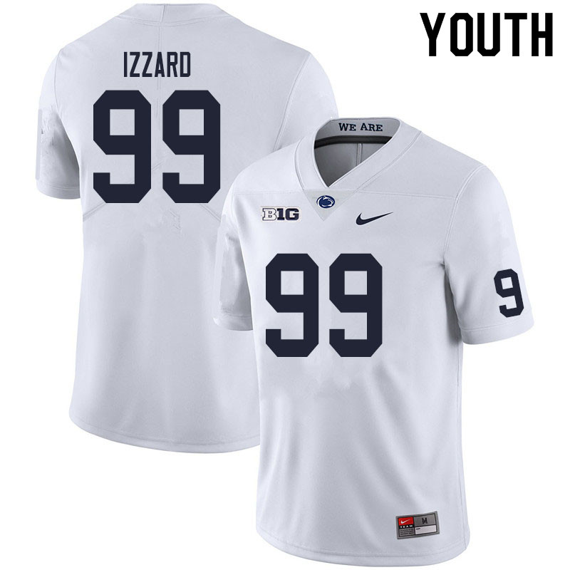 Youth #99 Coziah Izzard Penn State Nittany Lions College Football Jerseys Sale-White