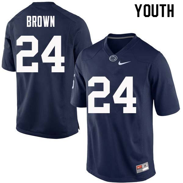 Youth #24 D.J. Brown Penn State Nittany Lions College Football Jerseys Sale-Navy