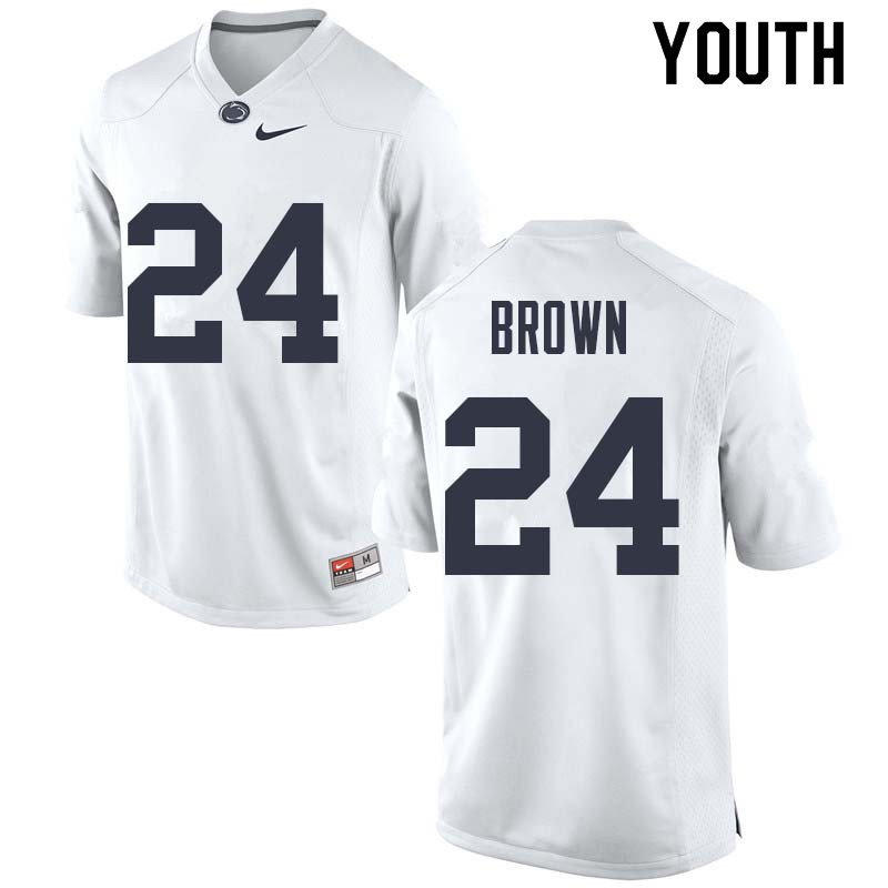 Youth #24 D.J. Brown Penn State Nittany Lions College Football Jerseys Sale-White