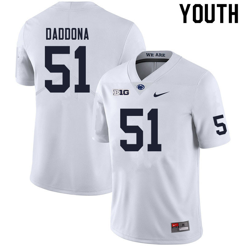 Youth #51 Dalton Daddona Penn State Nittany Lions College Football Jerseys Sale-White