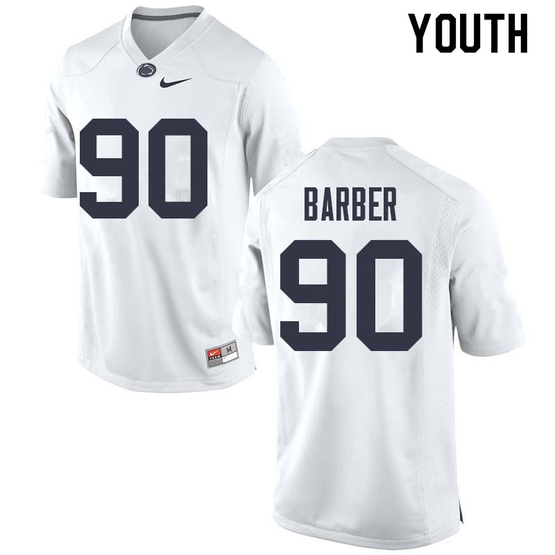 Youth #90 Damion Barber Penn State Nittany Lions College Football Jerseys Sale-White