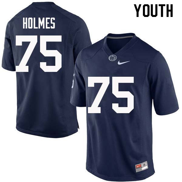 Youth #75 Deslin Holmes Penn State Nittany Lions College Football Jerseys Sale-Navy