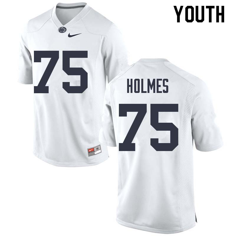 Youth #75 Deslin Holmes Penn State Nittany Lions College Football Jerseys Sale-White