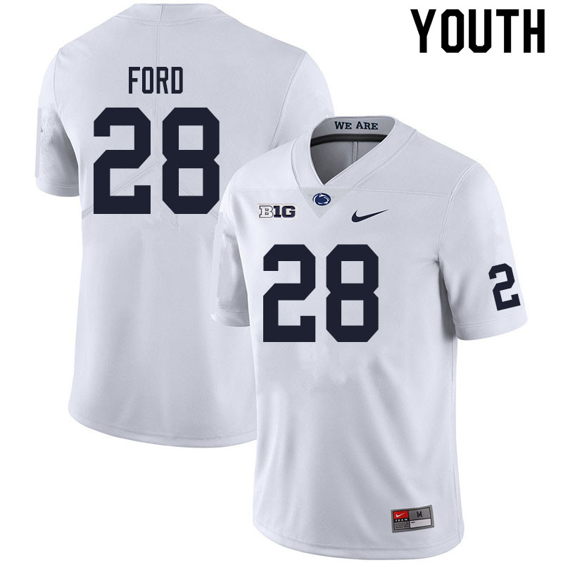 Youth #28 Devyn Ford Penn State Nittany Lions College Football Jerseys Sale-White