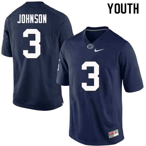 Youth #3 Donovan Johnson Penn State Nittany Lions College Football Jerseys Sale-Navy