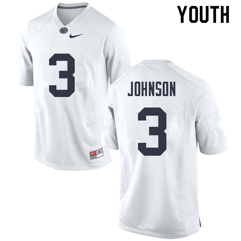 Youth #3 Donovan Johnson Penn State Nittany Lions College Football Jerseys Sale-White