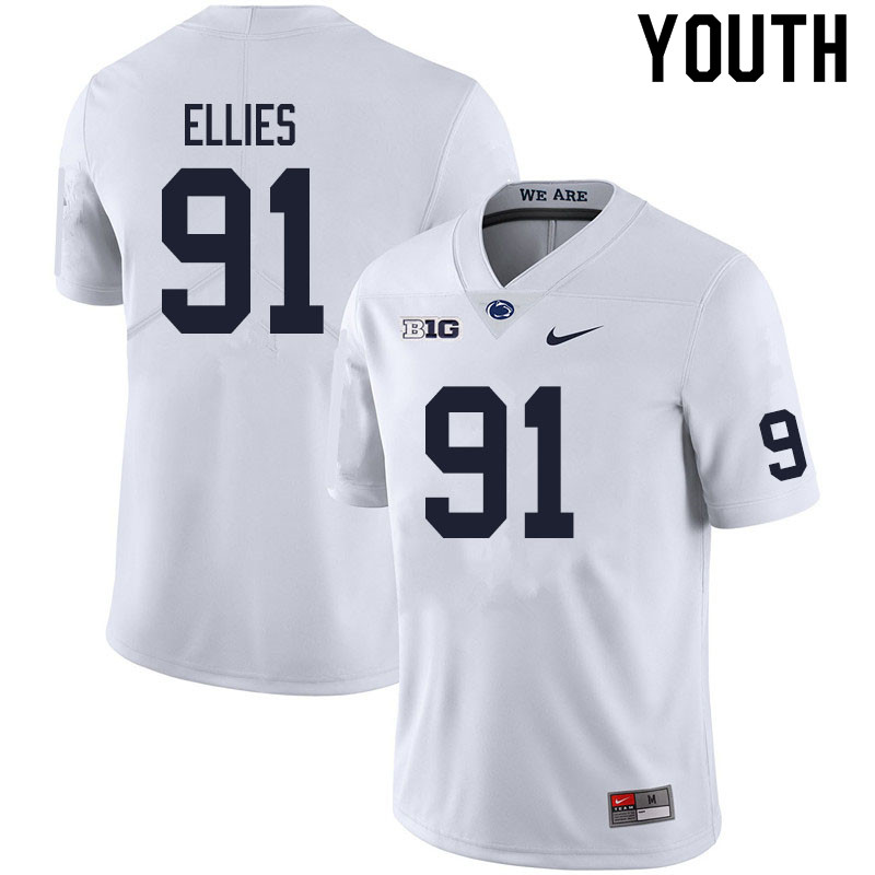 Youth #91 Dvon Ellies Penn State Nittany Lions College Football Jerseys Sale-White
