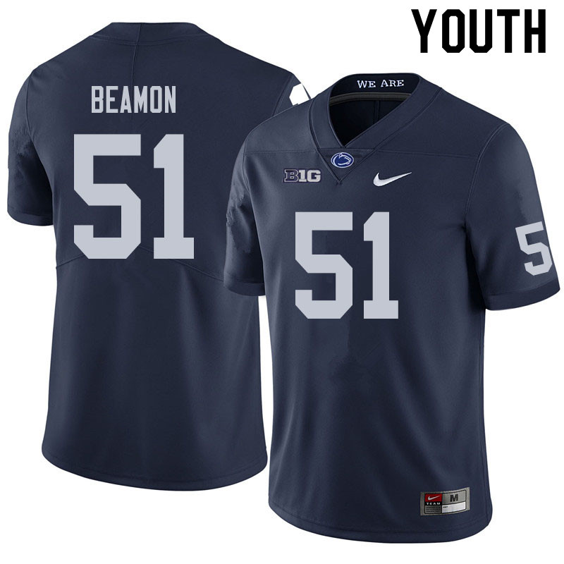 Youth #51 Hakeem Beamon Penn State Nittany Lions College Football Jerseys Sale-Navy
