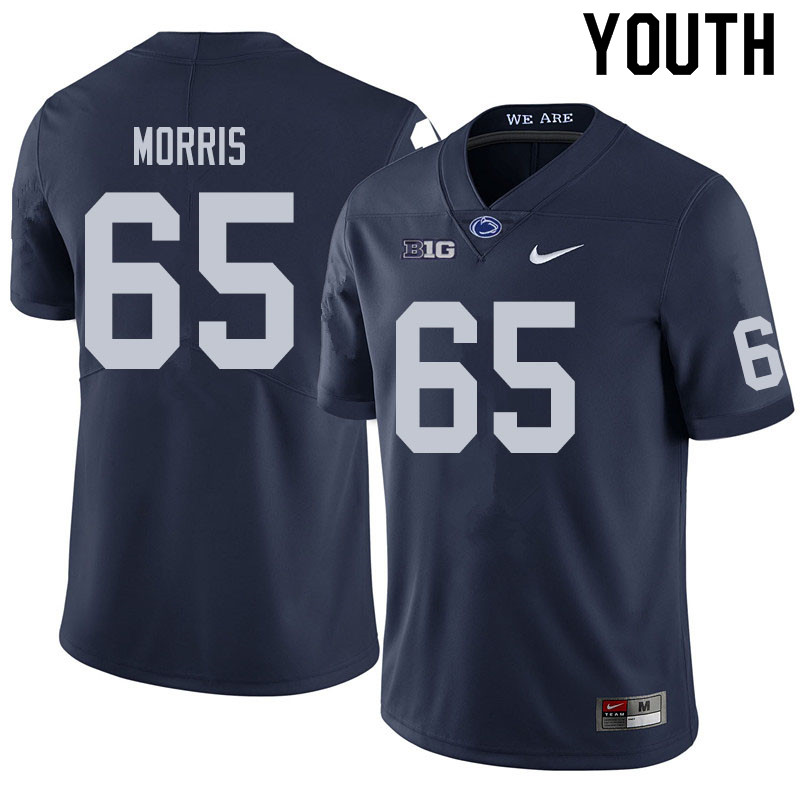 Youth #65 Hudson Morris Penn State Nittany Lions College Football Jerseys Sale-Navy