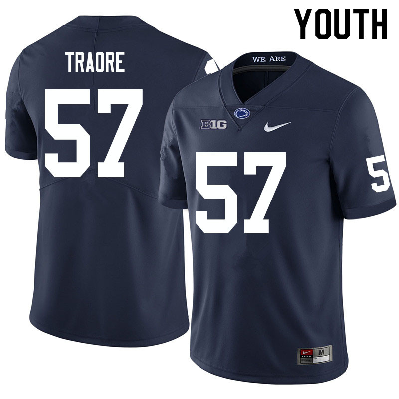 Youth #57 Ibrahim Traore Penn State Nittany Lions College Football Jerseys Sale-Navy