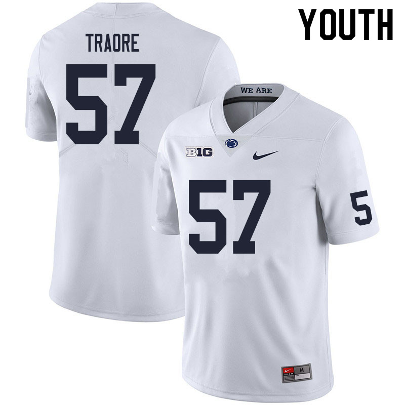 Youth #57 Ibrahim Traore Penn State Nittany Lions College Football Jerseys Sale-White