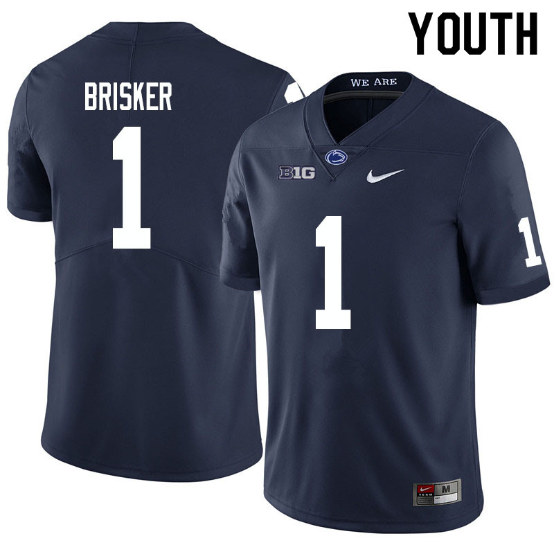 Youth #1 Jaquan Brisker Penn State Nittany Lions College Football Jerseys Sale-Navy